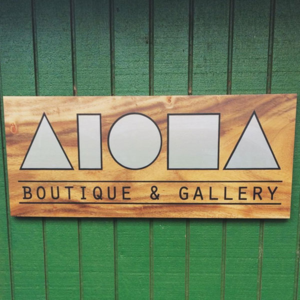 aloha boutique & gallery custom wood sign